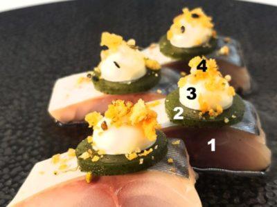 Recept: Sashimi makreel - Algen - Dashi - Jordà crumble
